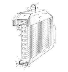 Heat exchanging radiator vintage vector