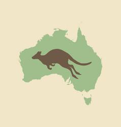 kangaroo and australia vintage style vector image vector image