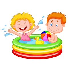 Kids cartoon playing in an inflatable pool vector
