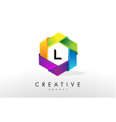L letter logo corporate hexagon design vector