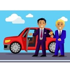 Man Buys a New Car vector image