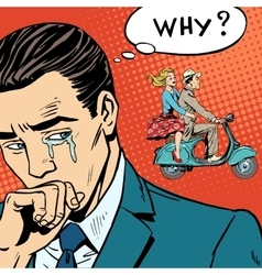Man weeps love breakup cheating vector