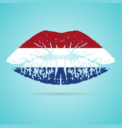 netherlands flag lipstick on the lips isolated on vector image vector image