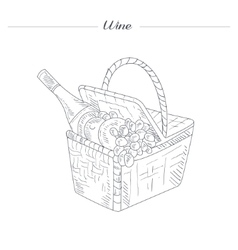 Picnic basket with wine hand drawn realistic vector