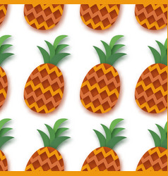 Pineappple seamless pattern anana in paper cut vector