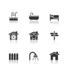 Real Estate Icons Set with reflection vector image vector image