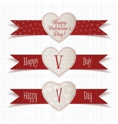 Realistic valentines day emblems with ribbons set vector