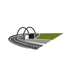 Road icon with arch bridge vector image