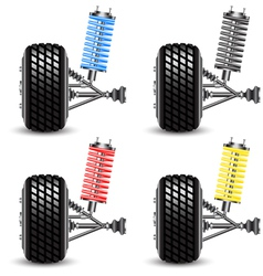 Set car suspension frontal view vector image