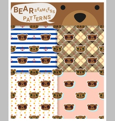 Set of animal seamless patterns with bear 1 vector