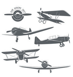 set of vintage airplane vector image vector image