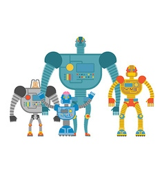 Set space robots cyborgs invaders humanoid vector