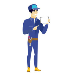 Smiling mechanic holding tablet computer vector