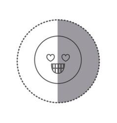 Sticker silhouette emoticon in love face vector