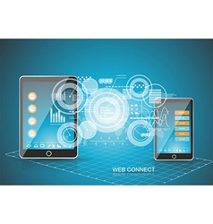 Touch Pad Personal Computer with Smartphone vector image vector image