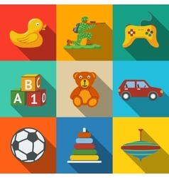 Toys flat long shadow icons set with - car duck vector