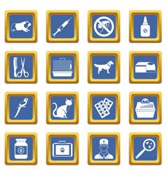 veterinary icons set blue vector image vector image