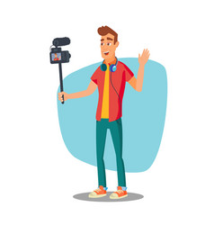 video blogger lifestyle video clip vector image