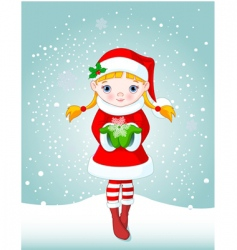 Christmas girl in snow vector