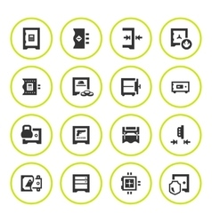 Set round icons of safe vector