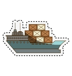 Cargo ship isolated icon vector