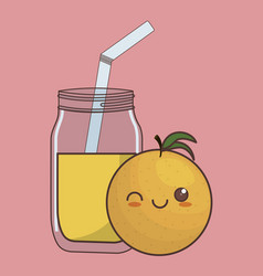 Kawaii fruit and juice icon vector