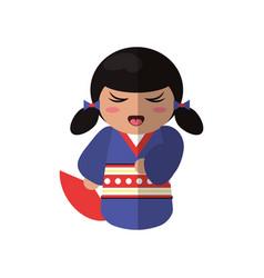 cute kokeshi doll traditional costume japanese vector image