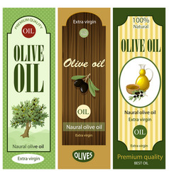 Cartoon olive oil labels set vector