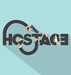 Gun And Knife In Hands With Hostage Typography vector image