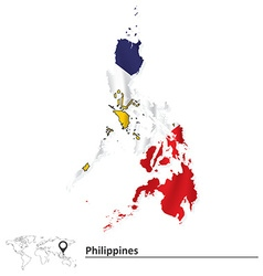 Map of Philippines with flag vector image