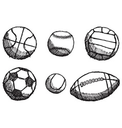 Ball sketch set with shadow isolated on white vector