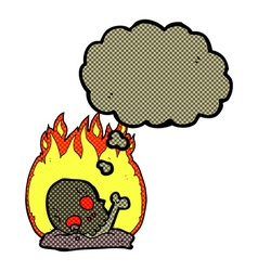 Cartoon burning old bones with thought bubble vector