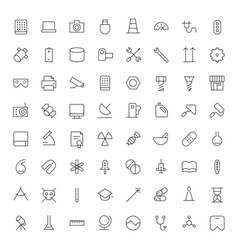 Icons line blacks tech industrial science medical vector