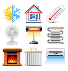 Heating and cooling icons set vector