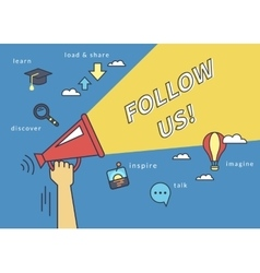 Follow us banner for social networks flat line vector