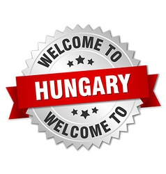 Hungary 3d silver badge with red ribbon vector