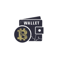 Bitcoin wallet emblem crypto currency label and vector