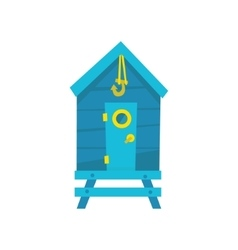 Blue beach cabin with hook vector