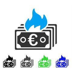 Burn euro banknotes flat icon vector