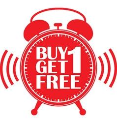 Buy 1 get 1 free red alarm clock vector