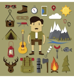 Camping and hiking set vector image