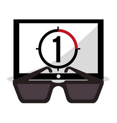 Cinema movie 3d glasses countdown vector