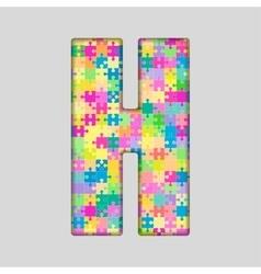 Color piece puzzle jigsaw letter - h vector