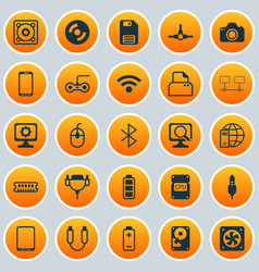Computer icons set collection of aux cord vector