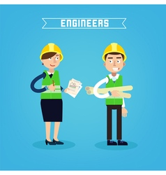 Construction workers engineer and project manager vector
