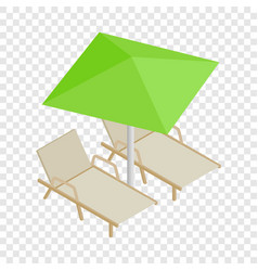 Deckchair and parasol isometric icon vector