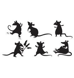 Fancy rats silhouettes set vector