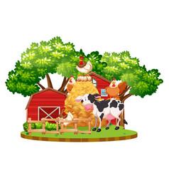 farm animals on the farm vector image vector image