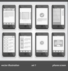 flat phone screen set 1 vector image