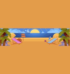 flat tropical sea beach vacation panorama vector image vector image